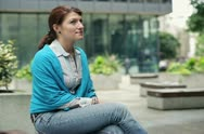 Portrait of young happy woman in the city NTSC Stock Footage