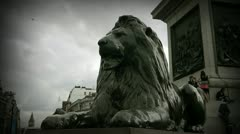 London Trafalgar Square Lion. - stock footage
