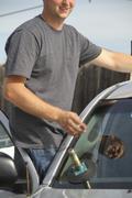 Autommobile glazier - stock photo