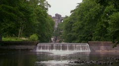 The Lake Vyrnwy dam viewed from downstream Stock Footage