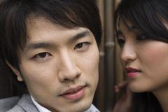 Close up of Japanese couple - stock photo