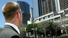 Security agent watching Los Angeles Stock Footage