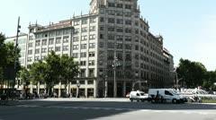 Barcelona Gran Via and Passeig De Gracia crossing 01 Stock Footage