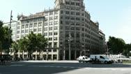Stock Video Footage of Barcelona Gran Via and Passeig De Gracia crossing 01