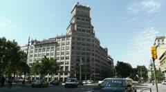 Barcelona Gran Via and Passeig De Gracia crossing 02 Stock Footage