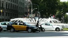 Barcelona Gran Via and Passeig De Gracia crossing 03 Stock Footage
