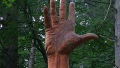Simon O'Rourke's 'The Giant Hand Of Vyrnwy' at Lake Vyrnwy Stock Footage