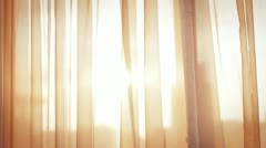 Window Curtain on the Wind Stock Footage