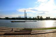 Stock Photo of Industrial Suburban Lake View