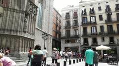 Barcelona Placa De Santa Maria 01 Stock Footage