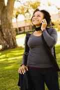 African woman talking on cell phone Stock Photos