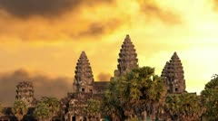 Angkor Wat temple silhouette with sunset sky and clouds Stock Footage
