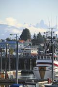 Petersburg, boathouses - stock photo