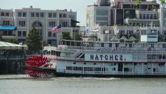 Stock Video Footage of New Orleans Riverboat Natchez Docked in Port
