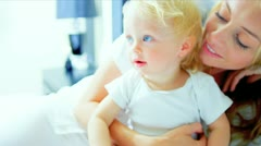 Young Mother Child Playing Bedroom Stock Footage