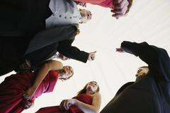 Low angle view of multi-ethnic bridal party Stock Photos