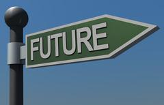 Stock Illustration of Sign pointing to the Future