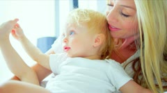 Mother Young Child Fun Indoors Stock Footage
