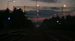 Train at summer night in Finland Stock Footage