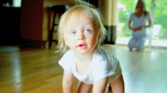 Cute Child Practicing Crawling Home  - stock footage