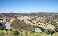 Landscape of valley and river near barrancos, portugal. Stock Photos