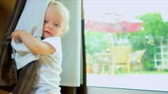 Young Child Laughing Hiding Game Stock Footage