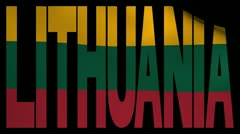 Lithuania text with fluttering flag animation Stock Footage