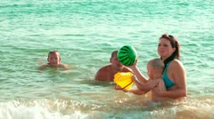 Family On The Summer Beach Stock Footage