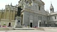 Madrid Santa Maria Almudena and Statue of Pope John Paul II 01 Stock Footage