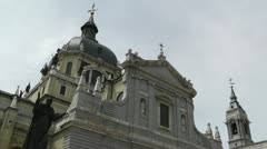 Madrid Santa Maria Almudena and Statue of Pope John Paul II 03 Stock Footage