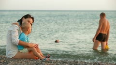 Family On The Summer Beach Stock Footage