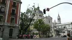 Madrid Santa Maria Almudena Calle De Bailen and Calle Mayor 02 Stock Footage