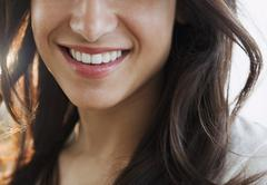 close up of hispanic woman's smile close up of hispanic womanõs smile - stock photo