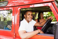 African couple in car Stock Photos