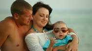 Together On the Summer Beach Stock Footage