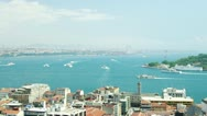 Aerial view to the Bosphorus strait in sunny day with a lot of ships sails. Stock Footage