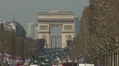 Arc de Triomphe and the Champs Elysees - Paris Stock Footage