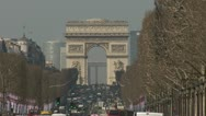 Stock Video Footage of Arc de Triomphe and the Champs Elysees - Paris
