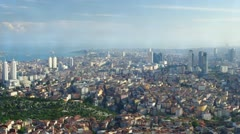 Aerial view of modern buildings and Bosphorus strait in Istanbul, Turkey. - stock footage