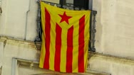 Stock Video Footage of Facade in Catalonia with Catalan Flag in Spain 02