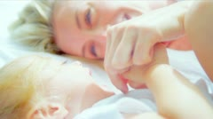 Little Blonde Haired Girl Laughing Mother Stock Footage
