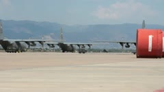 C130s on airstrip (HD)c - stock footage