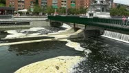 River Manzares Pollution Madrid  Stock Footage