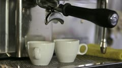 Cups in a coffee machine Stock Footage