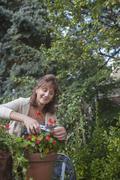 Caucasian woman clipping flowers in garden Stock Photos