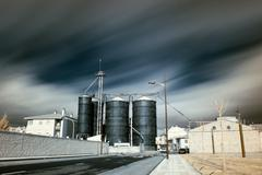 Long exposure Infrared industrial site Stock Photos