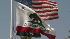 California state flag blowing in wind Stock Footage