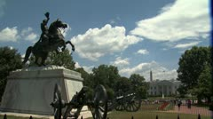 White House with Jackson Statue Stock Footage