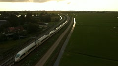 ICE train aerial drone shot near amsterdam Stock Footage