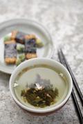 Close up of japanese genmai cha tea and puffed rice Stock Photos